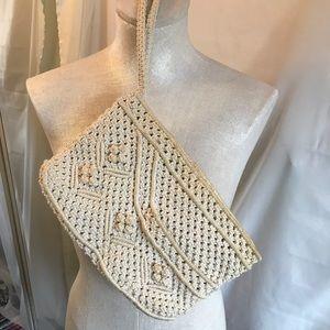 Handbags - Vintage Macrame Crochet Woven Clutch Wristlet